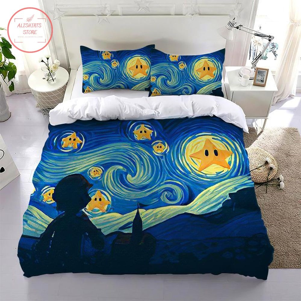 Super Mario The Starry Night View Of Back Bedding Set