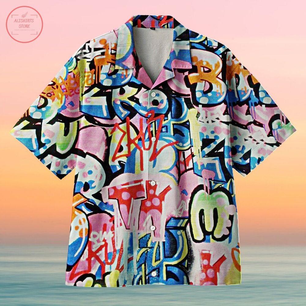 Tag You're It Bright Multi Urban Graffiti Hawaiian Shirt