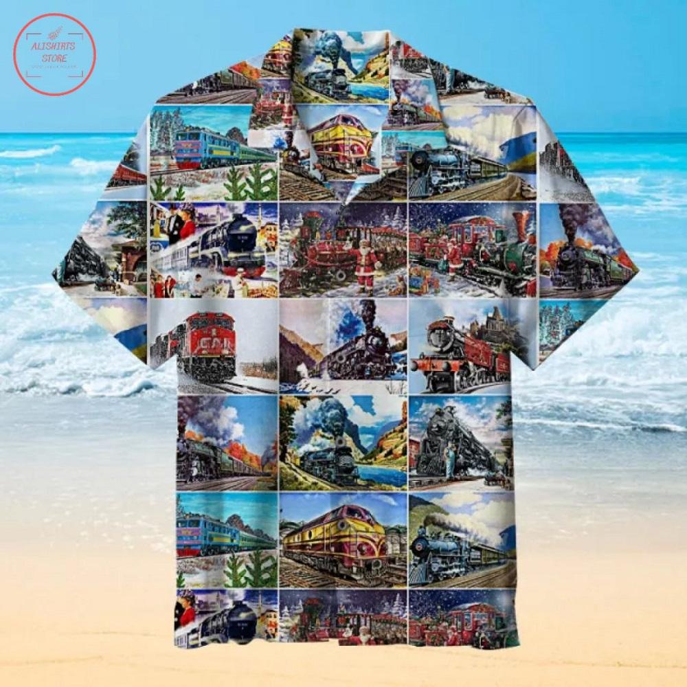 The train pattern Hawaiian Shirt