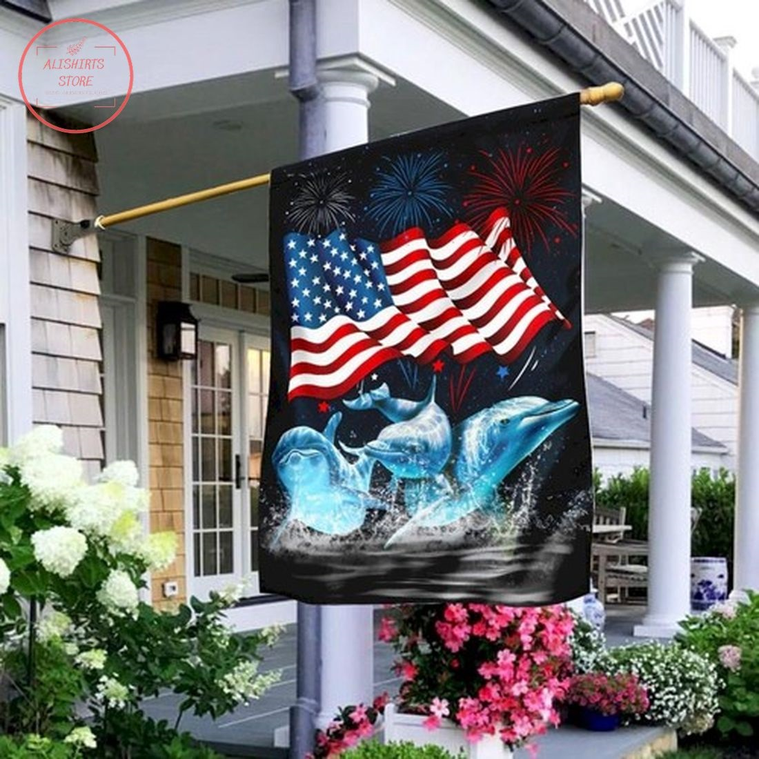 Three Dolphins Happy Independence Day Flag