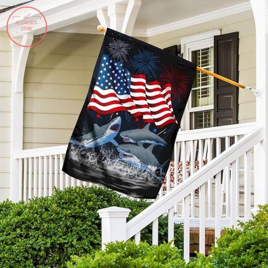 Three Sharks Happy Independence Day Flag