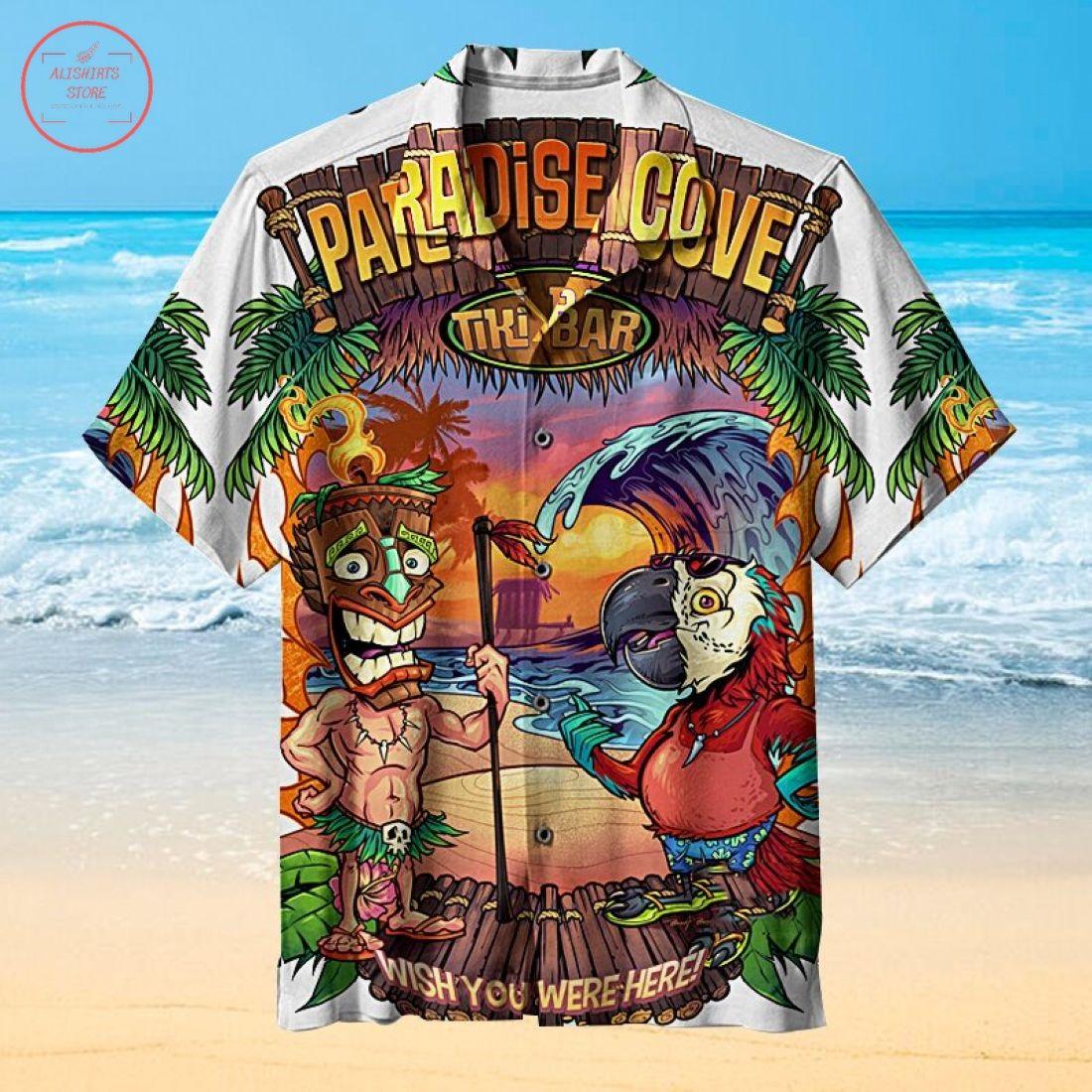 Tiki and parrot Hawaiian Shirt
