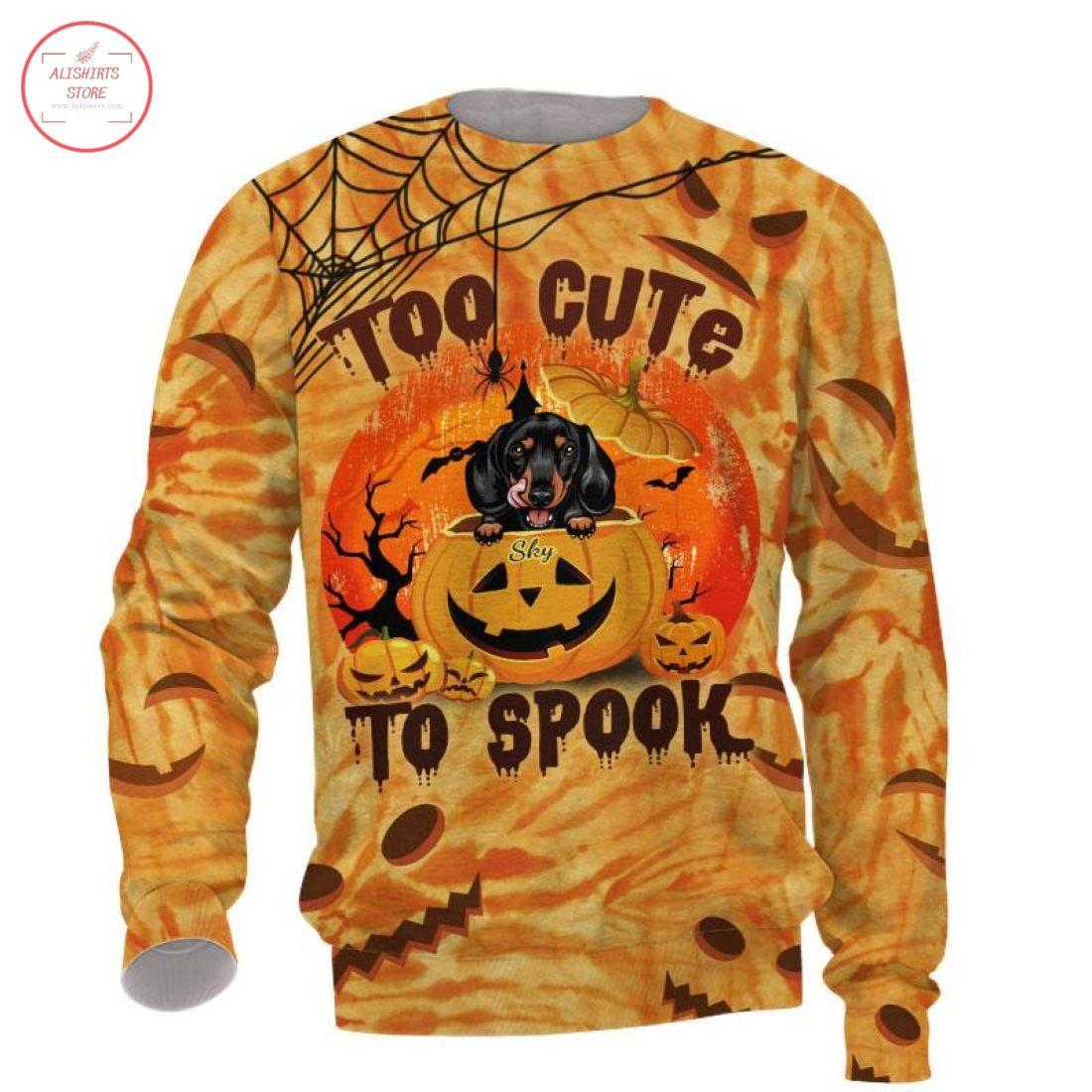 Too cute to spook Dog Halloween Pumpkin Shirt