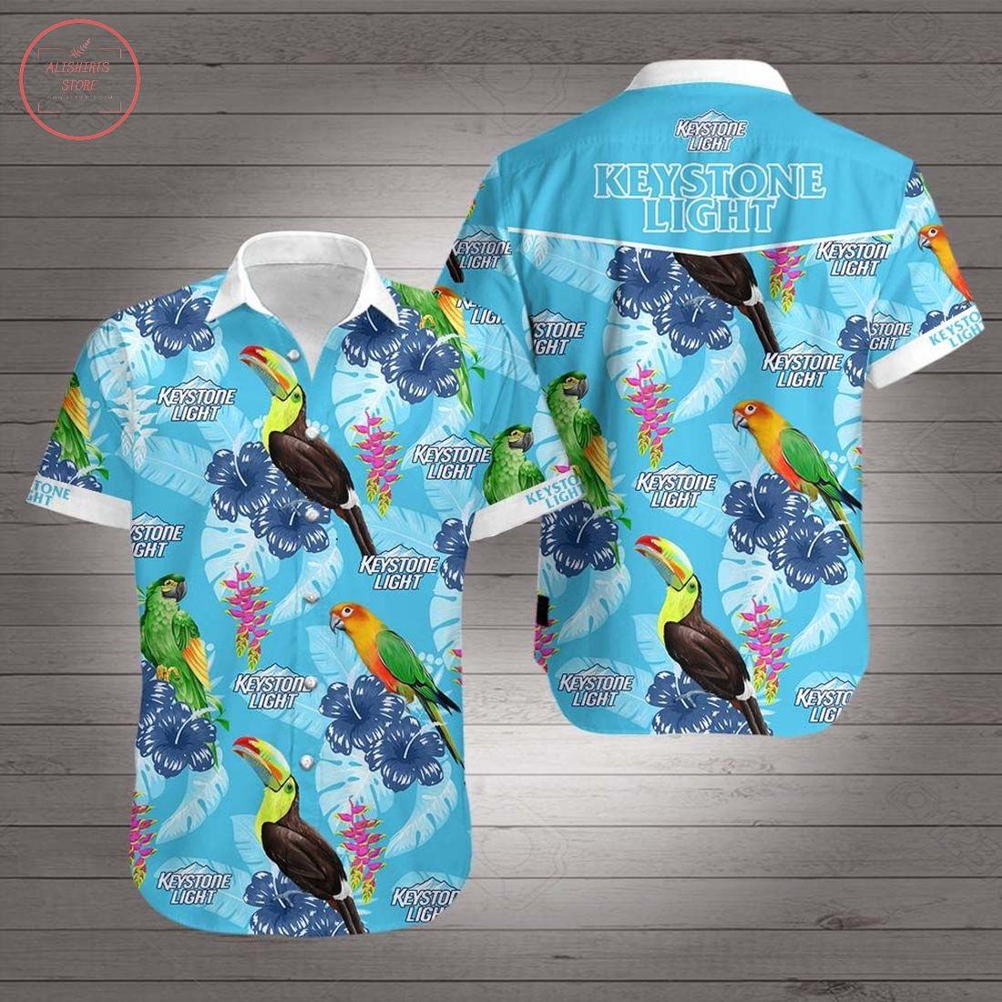 Tropical Parrot Keystone Light Hawaiian Shirt