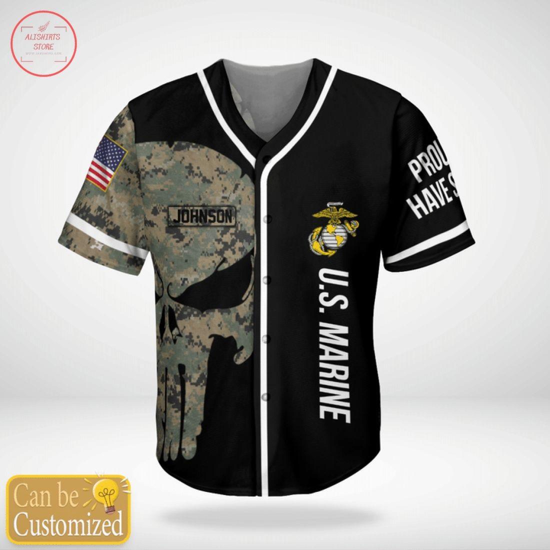 US Marine Personalized Custom Skull Jersey