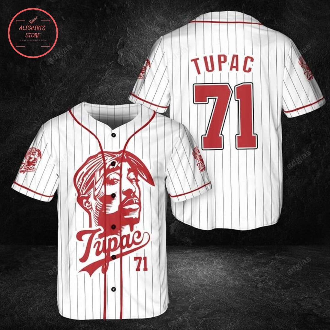 Tupac original stripe baseball Jersey