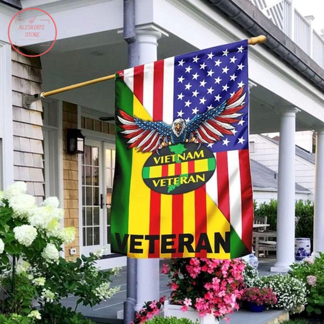 Vietnam Veteran American Flag House Flag