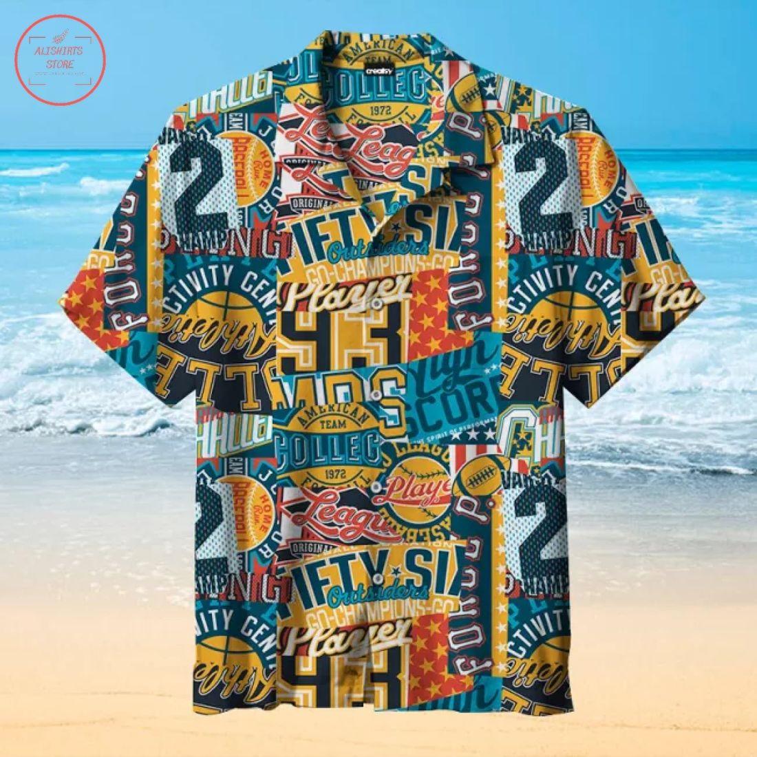 Vintage American college sport Hawaiian shirt