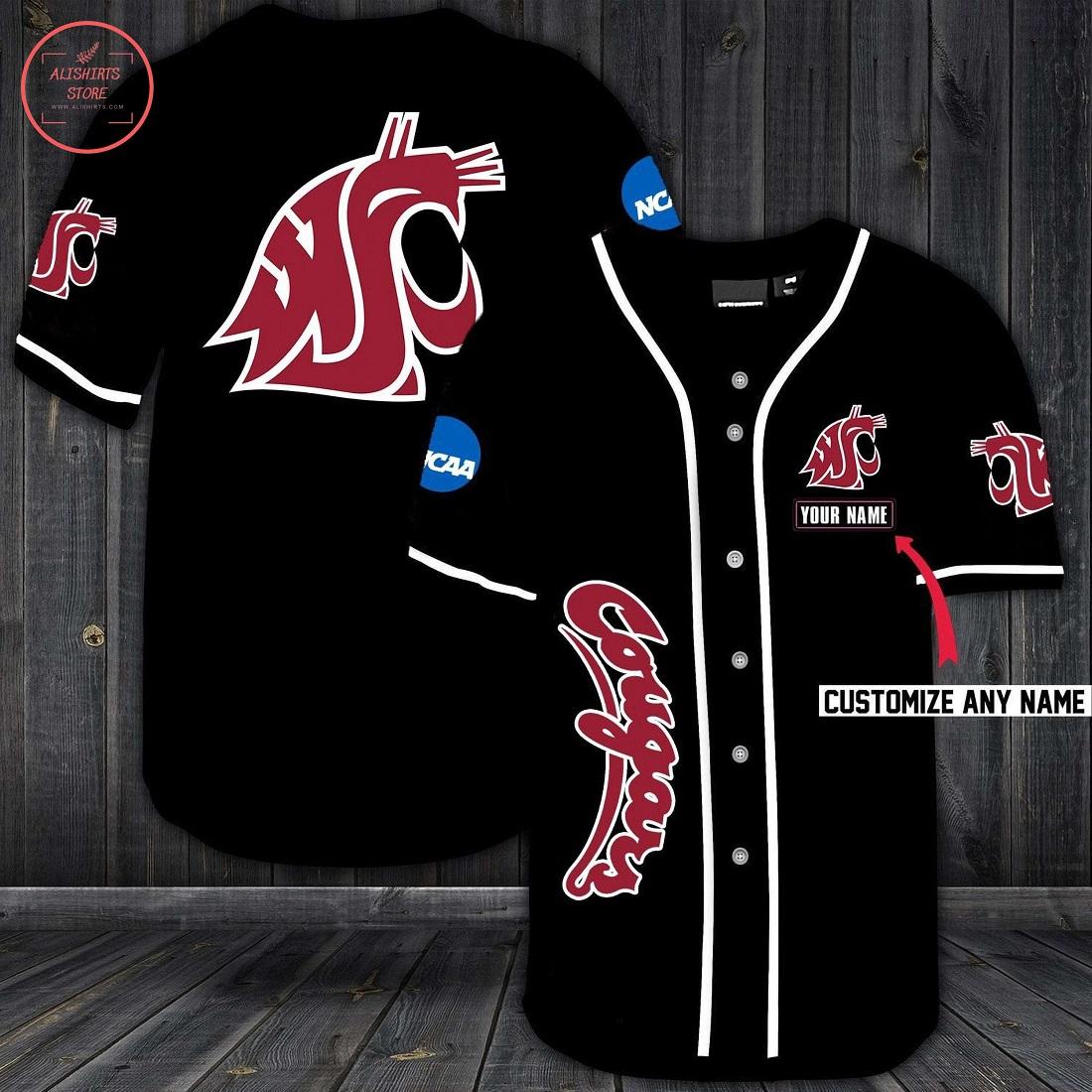 Washington State Cougars Personalized Baseball Jersey