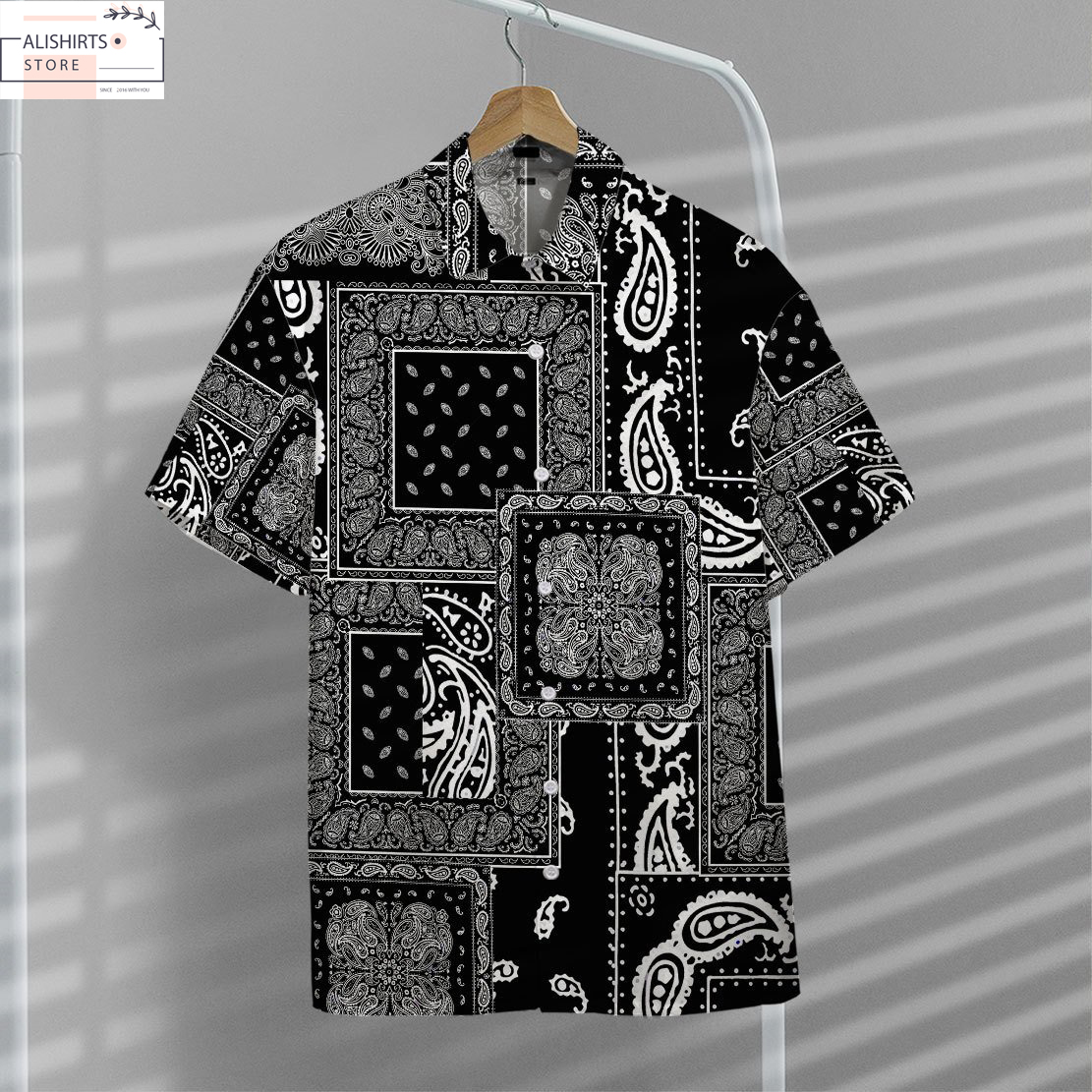 3D BLACK MULTIPLE PAISLEY BANDANAS HAWAII SHIRT