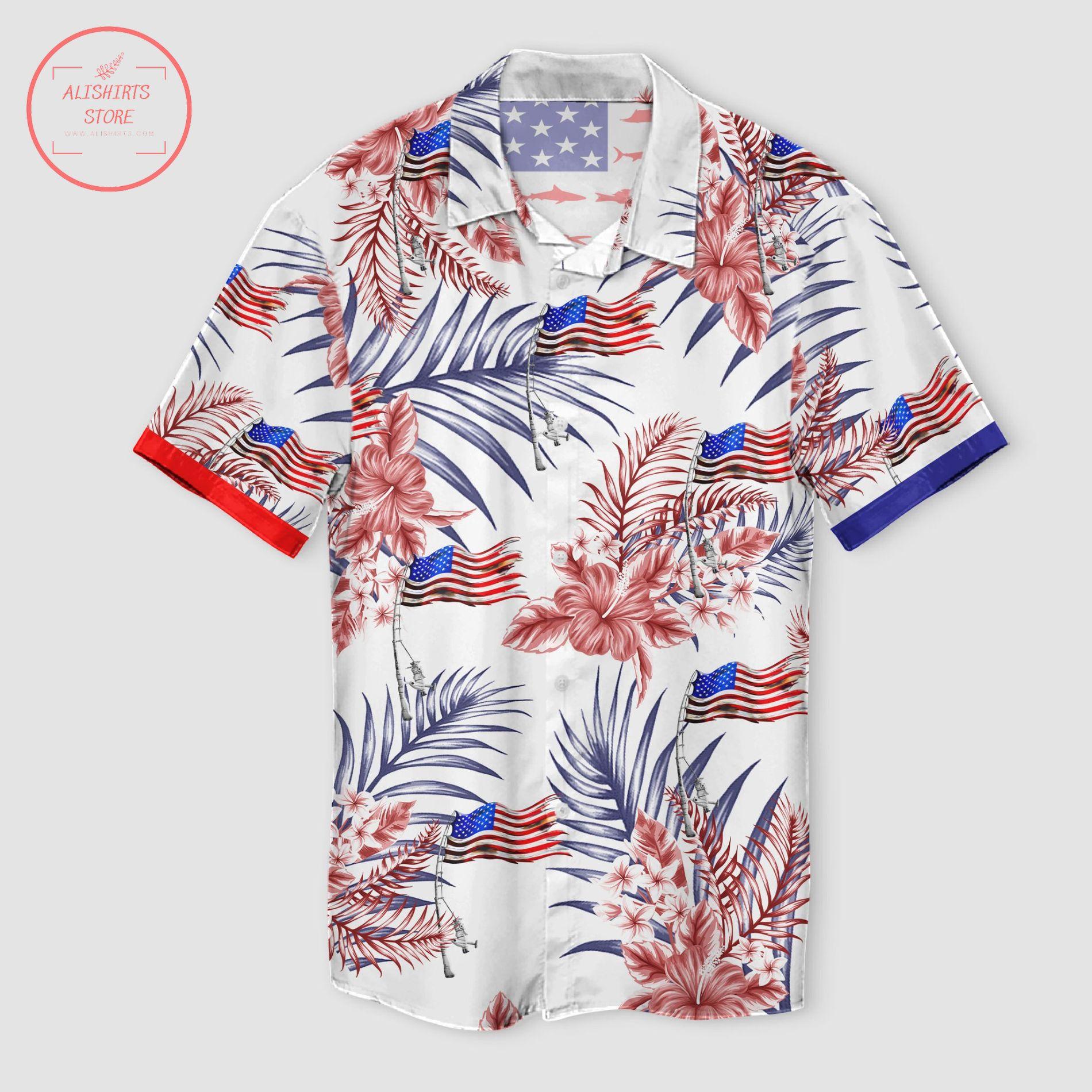 Fishing American Flag Tropical Pattern Hawaii Shirt