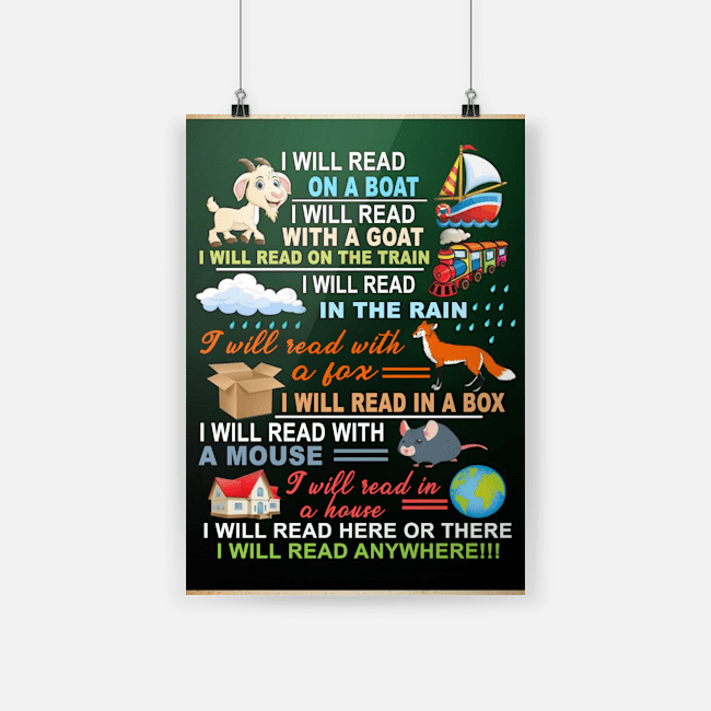 I will read on a boat i will read with a goat i will read on the train poster