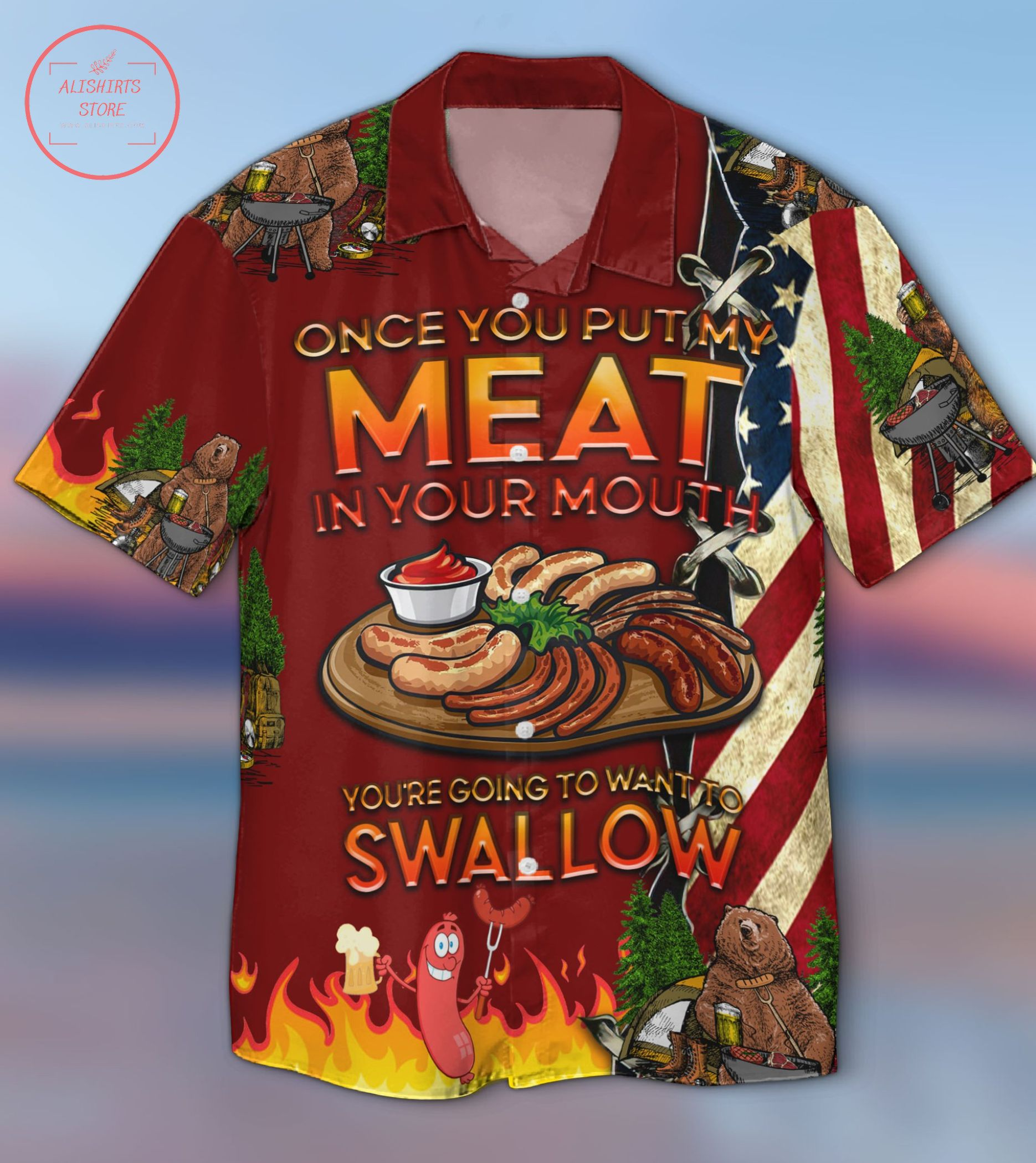 Camping Put My Meat Want To Swallow Hawaiian Shirt