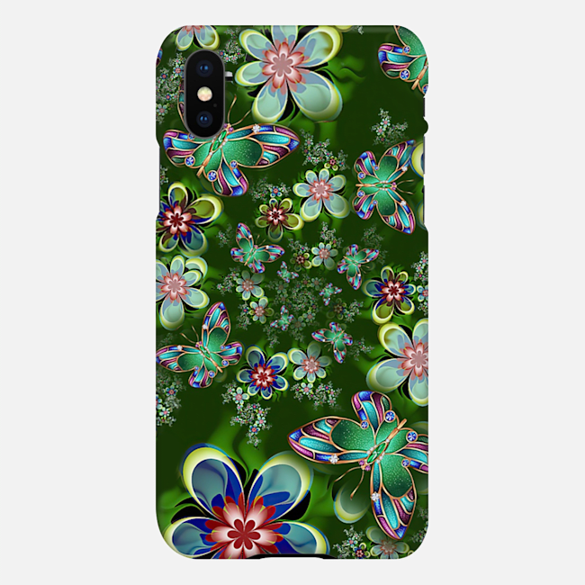 Magic Butterflies and Green Flowers Phone Case