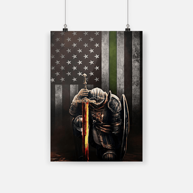Thin Green Line Flag Poster Knight Templar Patriotic Army Military Veteran Poster