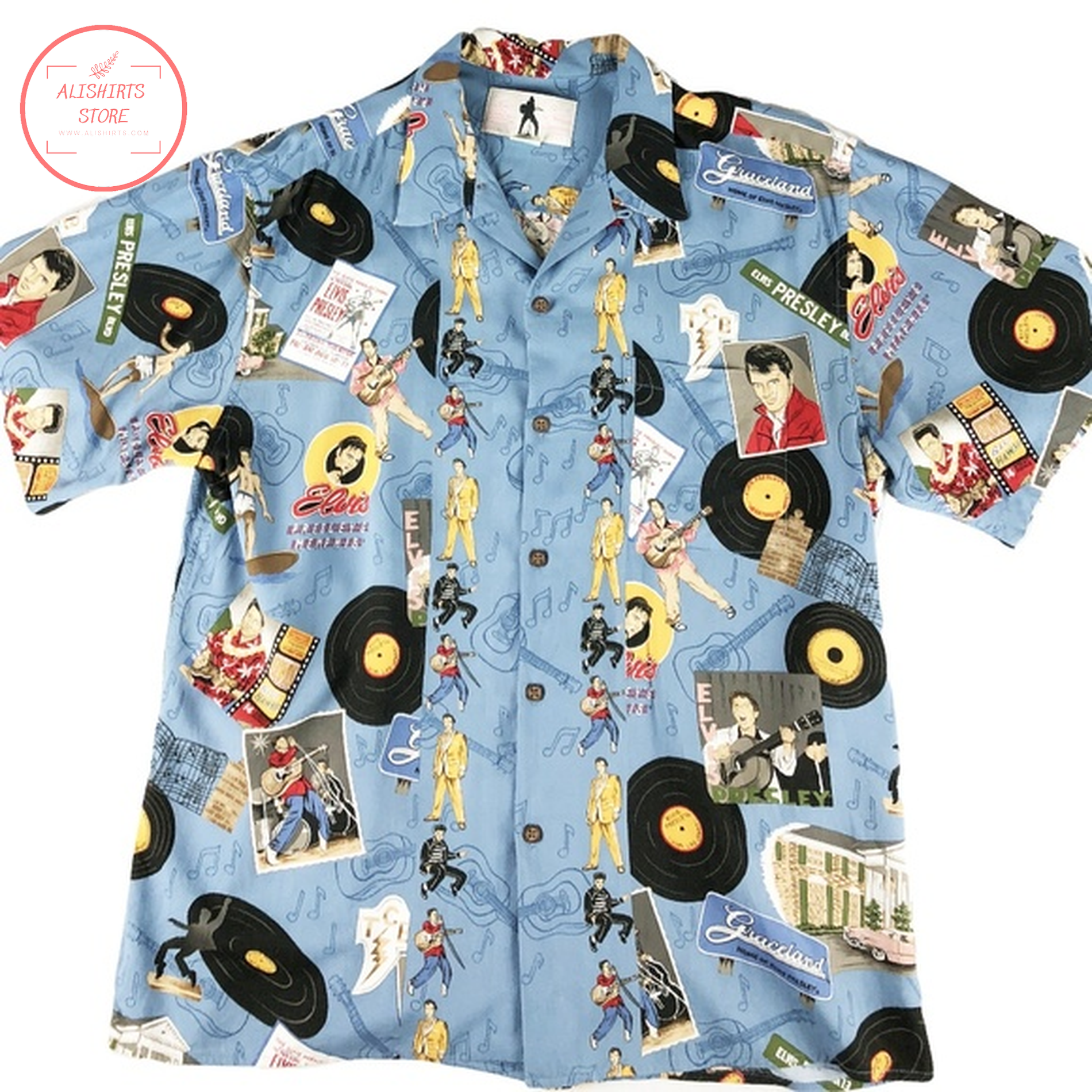 Elvis Presley vinyl disk blue hawaiian Shirts