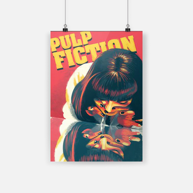 Pulp fiction cocaine mia wallace retro art vertical poster