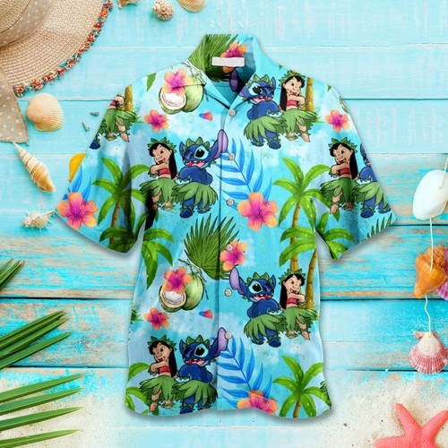 Disney Aloha Stitch Hawaiian Custom Ohana Summer Shirt