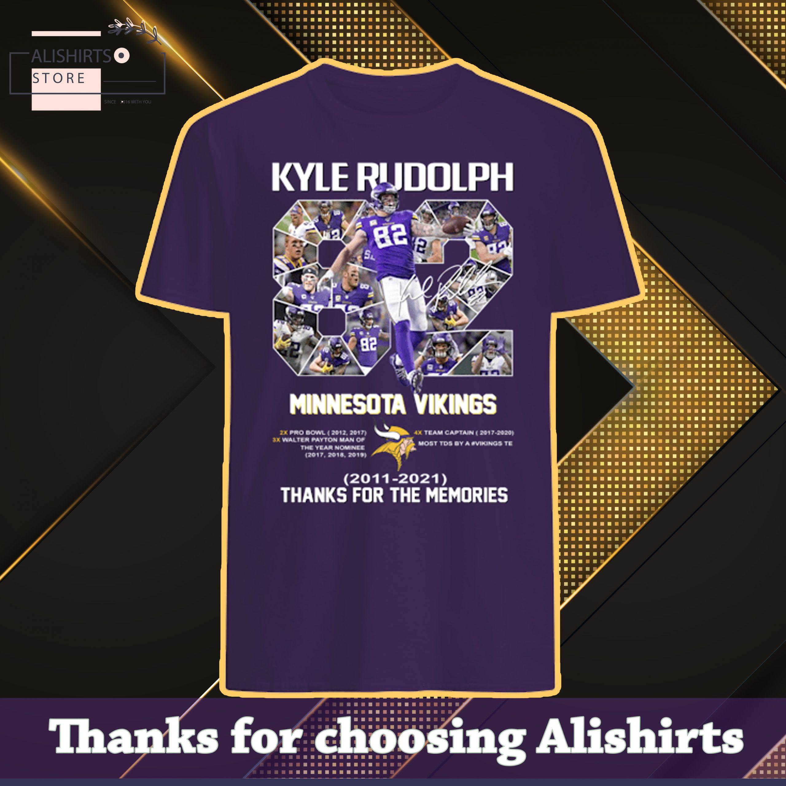 82 Kyle Rudolph Minnesota Vikings 2011 2021 thanks for the memories shirt