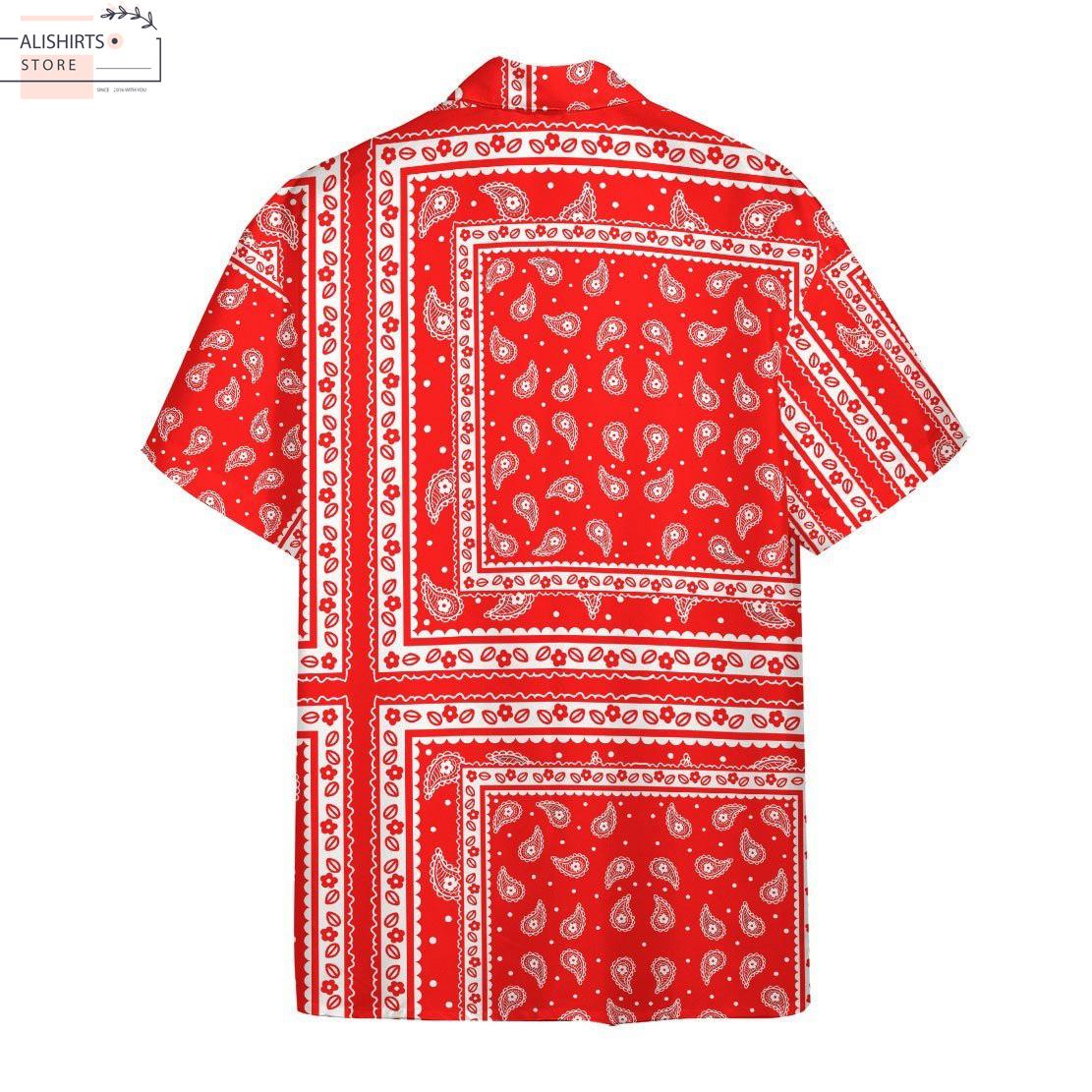 RED PAISLEY BANDANA HAWAII 3D SHIRT