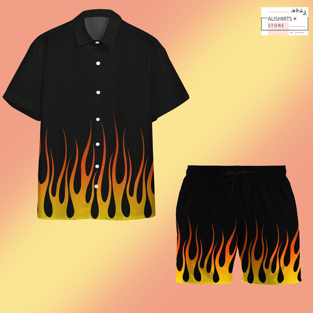 3d hot rod flame stencils custom hawaii shirt