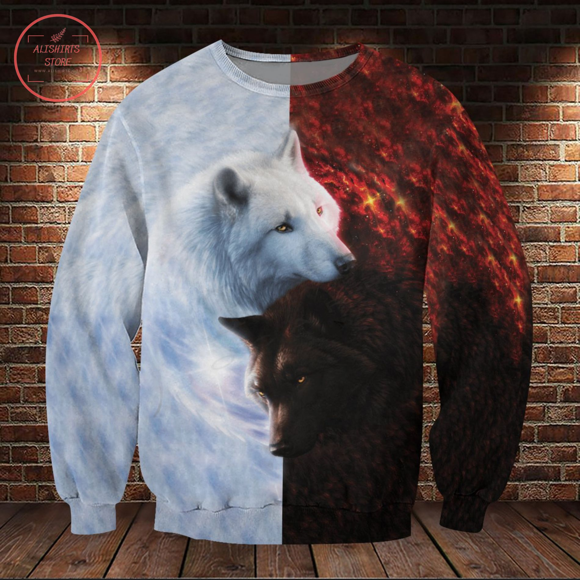 Yin Yang Wolf Lover Black And White 3D All Over Shirt