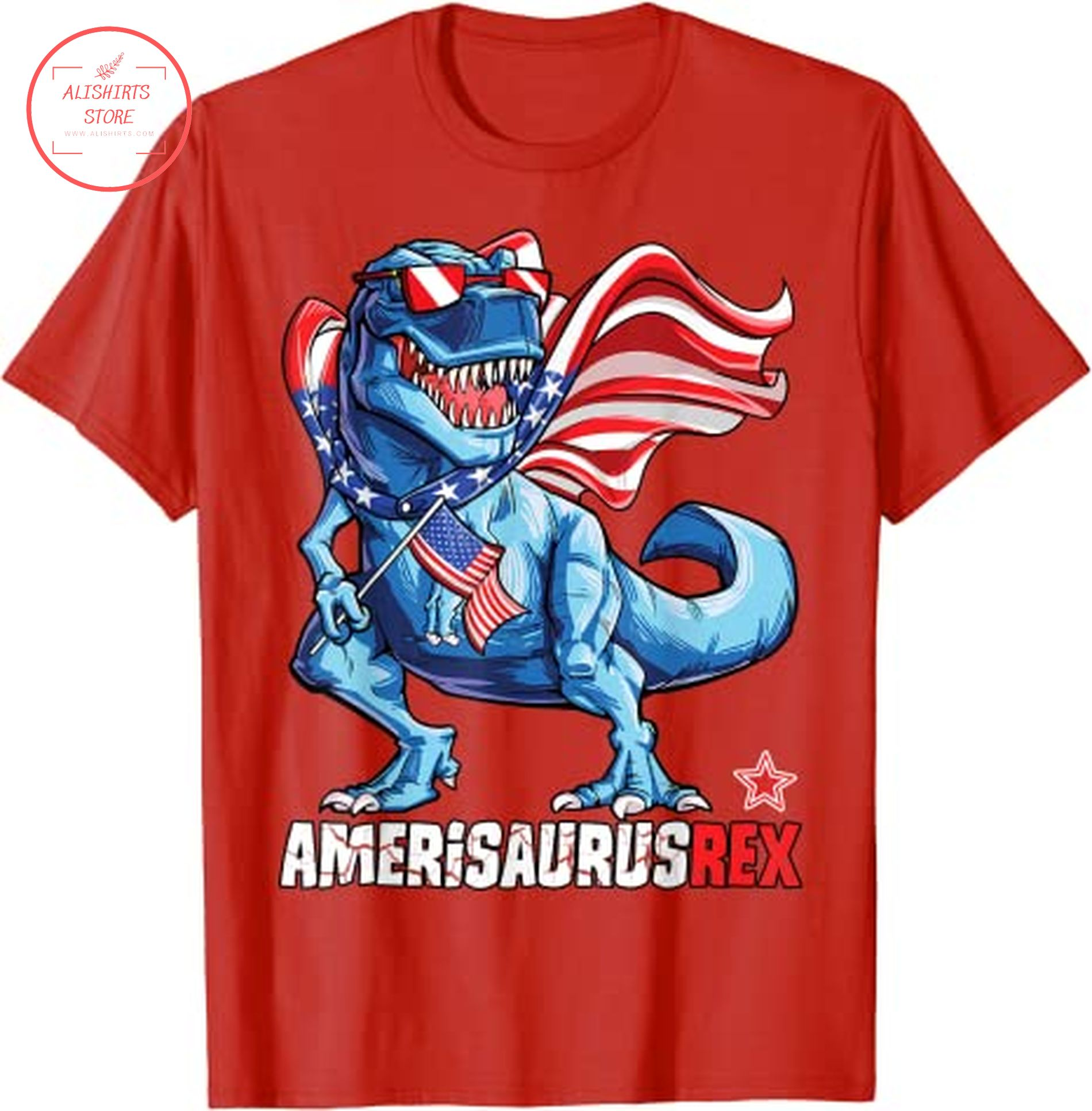 4th of July T rex shirt