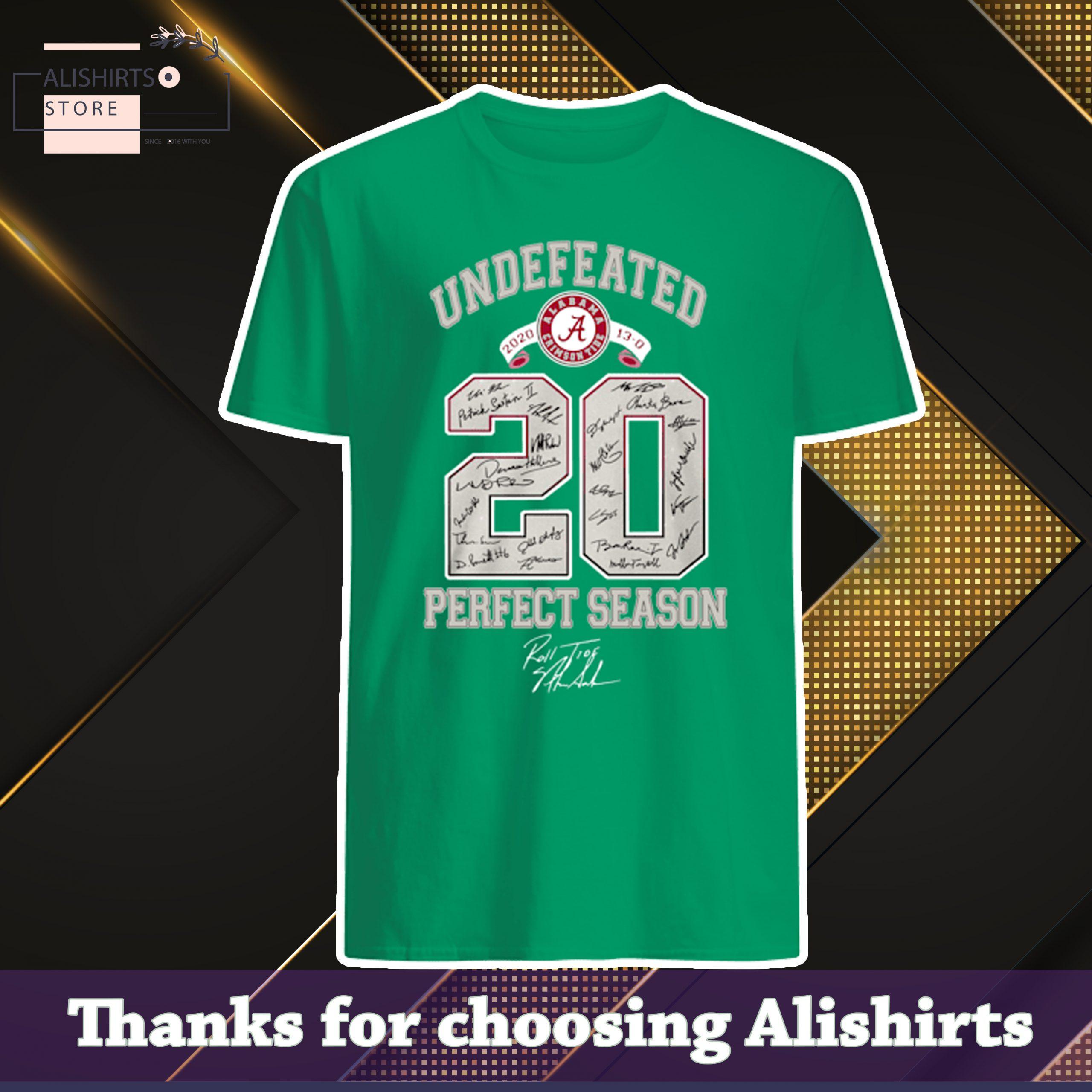Alabama Crimson Tide undefeated 20 perfect season signatures shirt