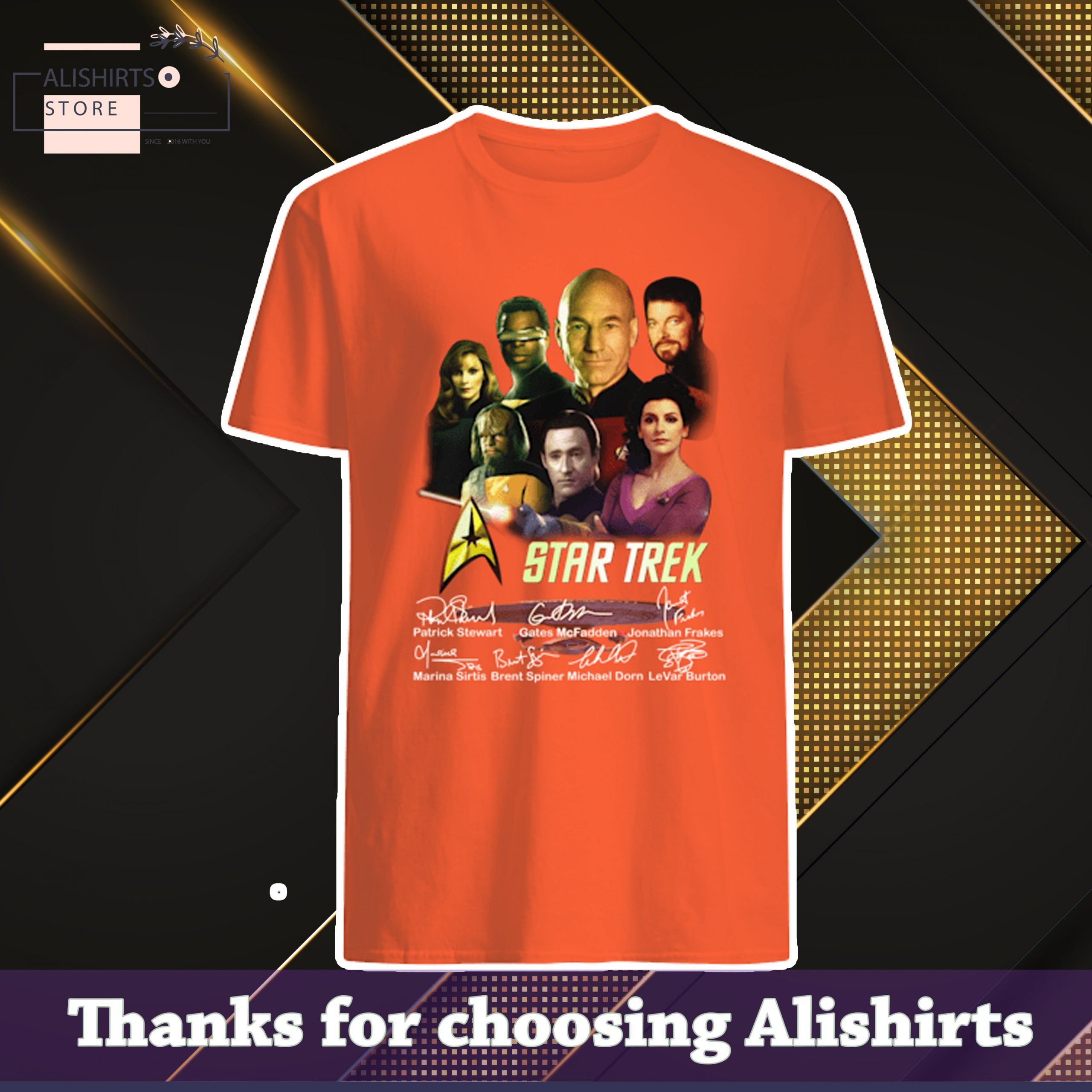 Star Trek Patrick Stewart Gates McFadden Jonathan Frakes Signatures Shirt