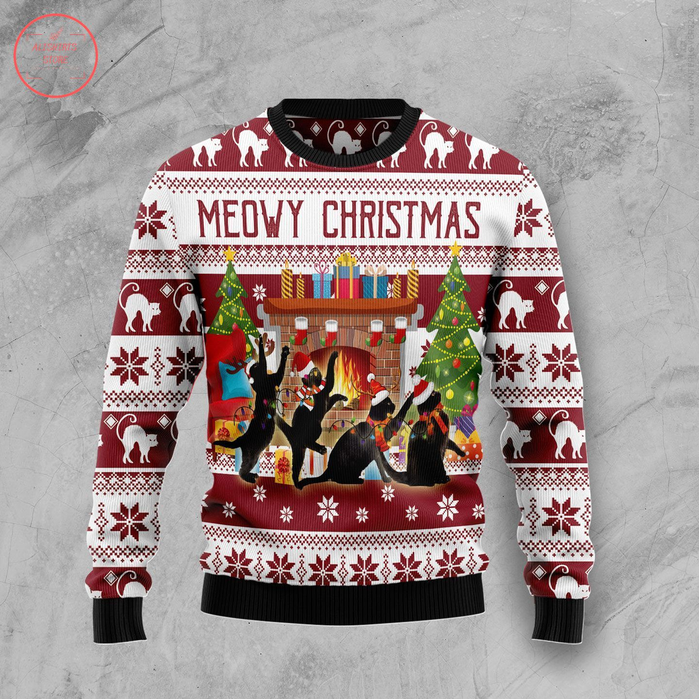 Funny Meowy Ugly Christmas Unisex 3D Sweater