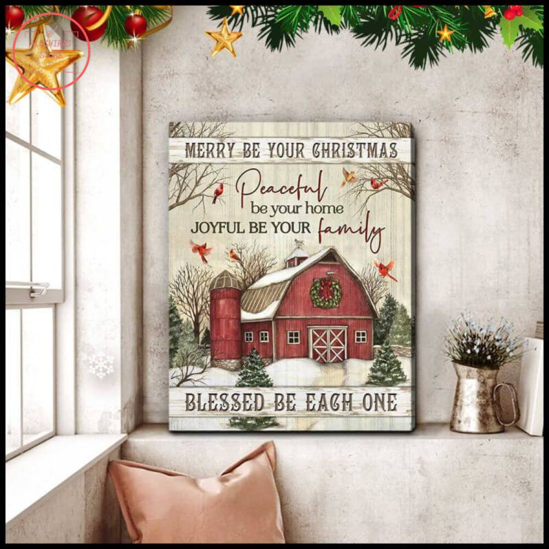 3D Christmas Cardinal And FarmHouse Blessed Be Each One Canvas