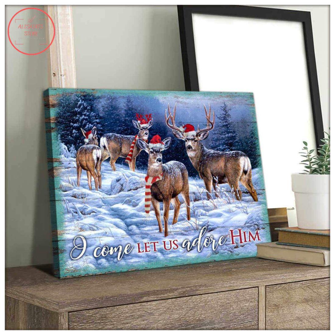 3D Christmas Deer Canvas