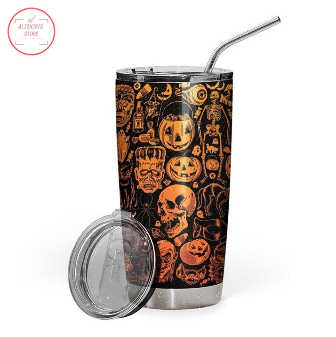 3D Everyday Is Halloween Skull Pumpkin Stainless Steel Tumbler
