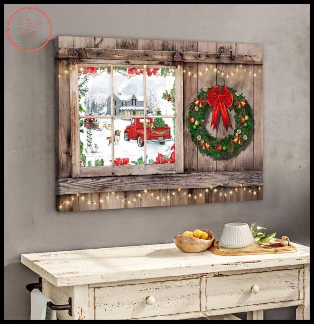 3D Farmhouse Canvas Christmas Window