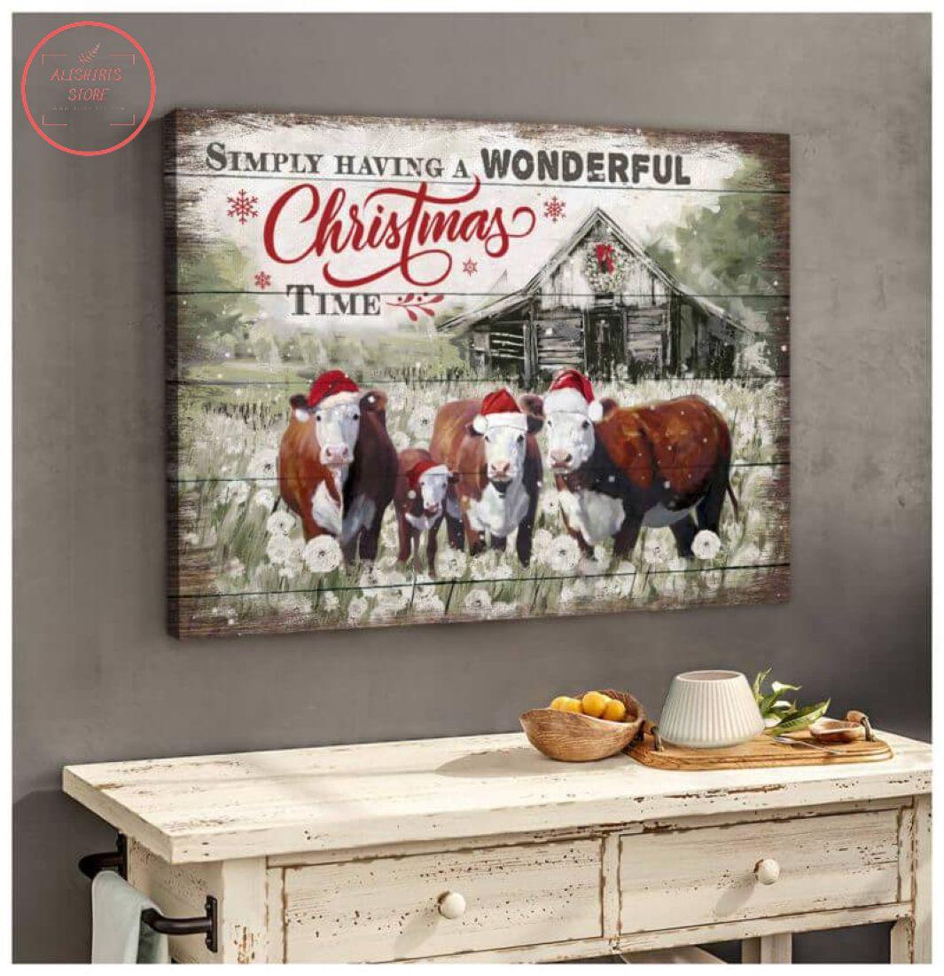 3D Farmhouse Hereford Cows Christmas Canvas