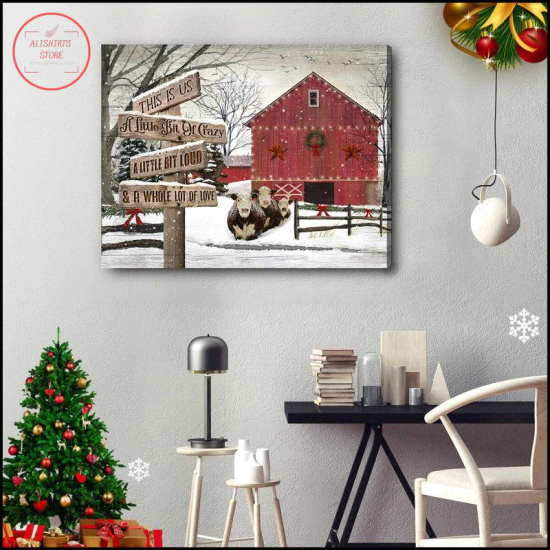 3D Farmhouse Hereford Cows Whole Lot Of Love Christmas Canvas