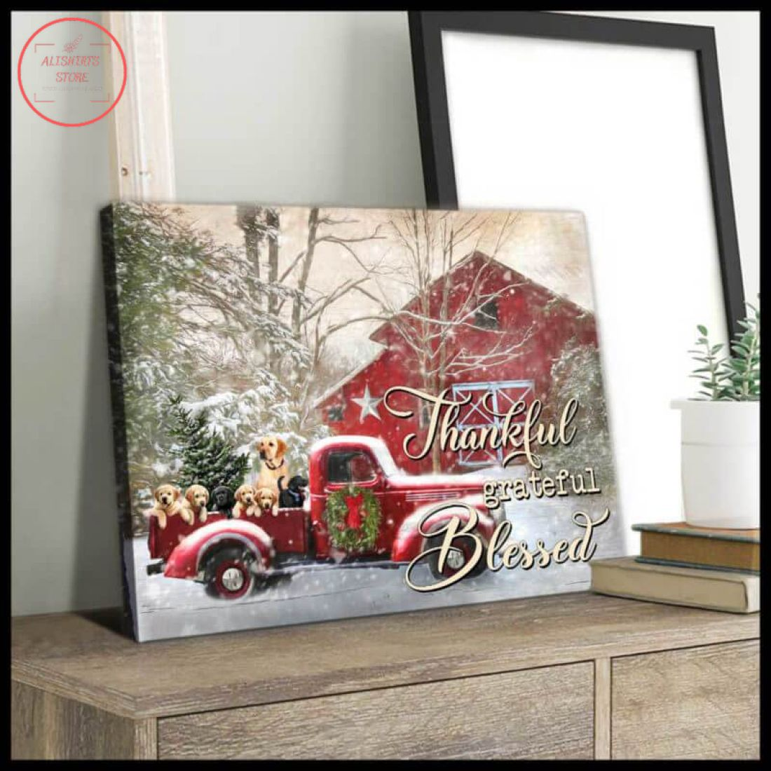 3D Farmhouse Labrador Retriever Christmas Canvas