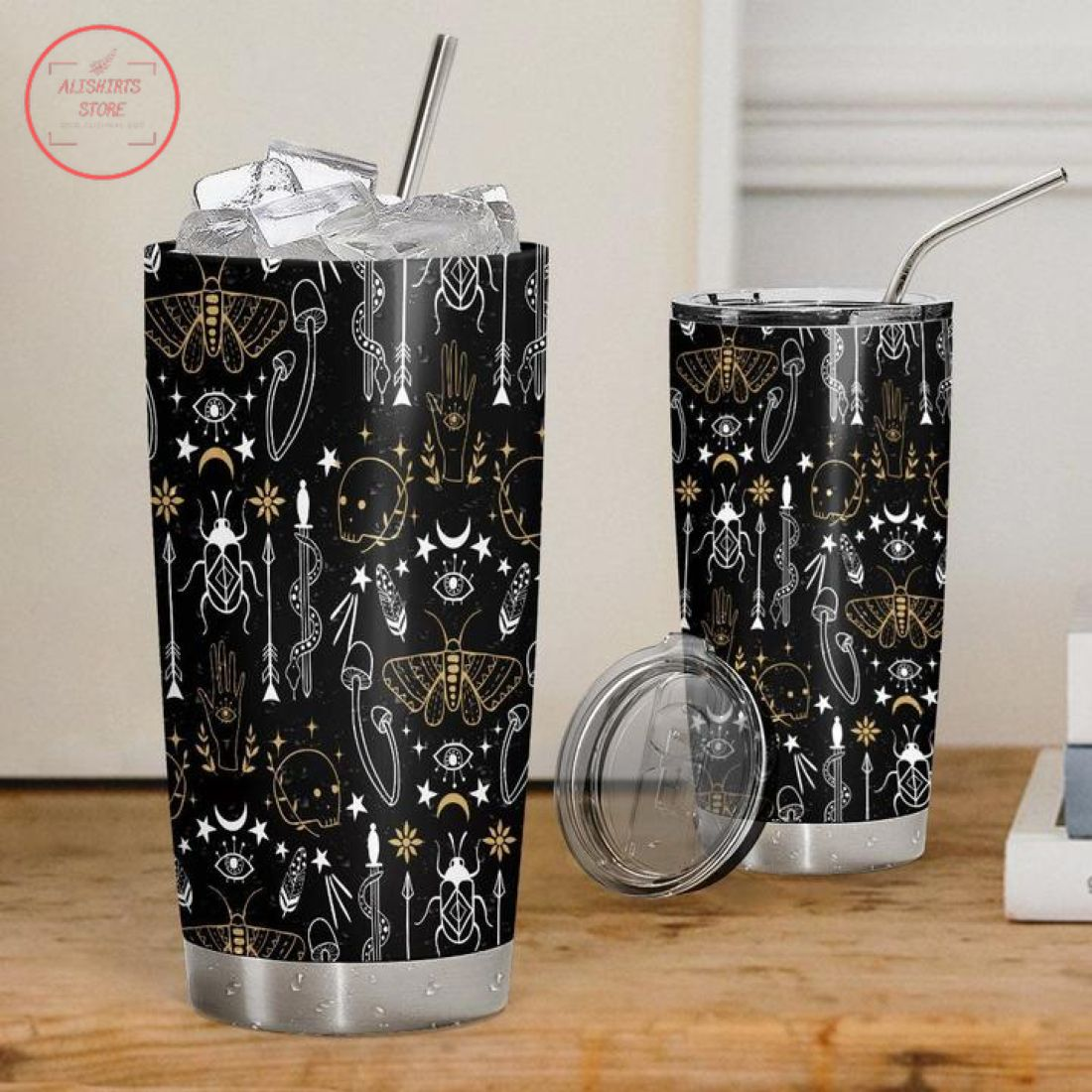 3D Gothic Halloween Pattern Stainless Steel Tumbler