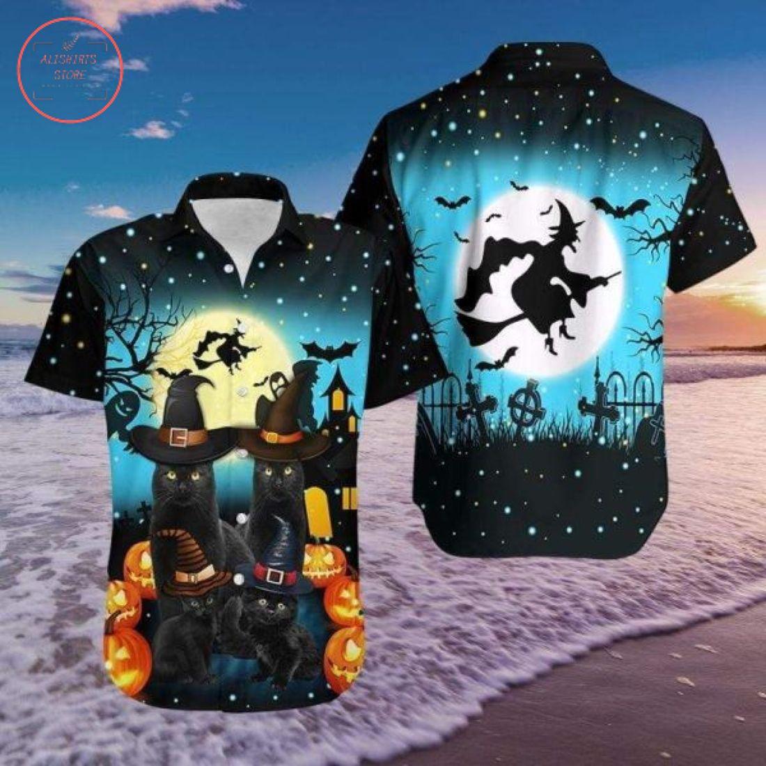 3D Halloween Black Cat Hawaiian Shirt