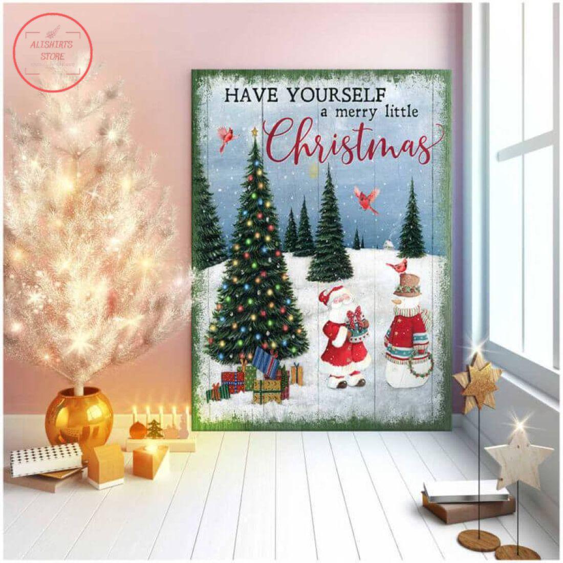 3D Santa and Snowman Christmas Cardinal Canvas