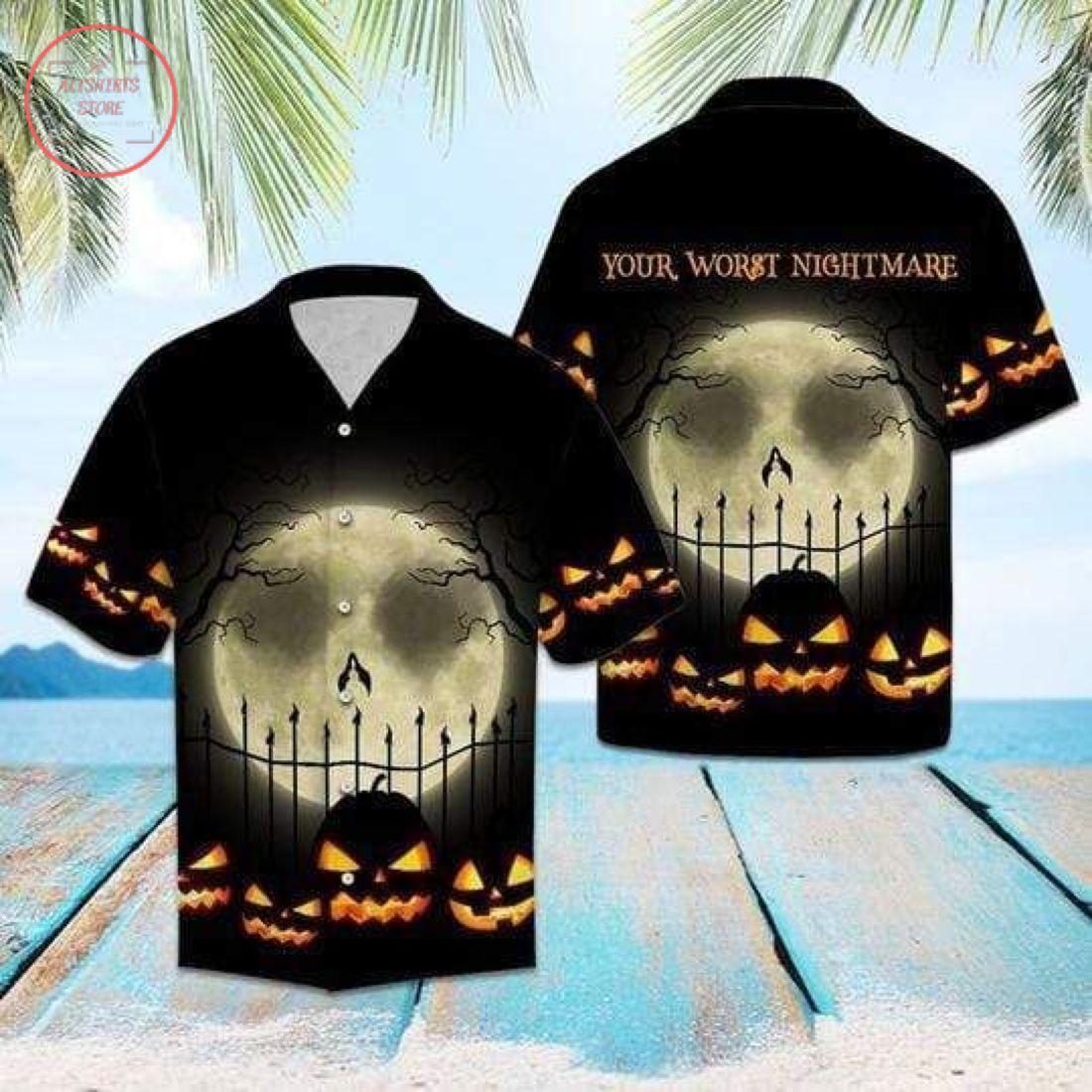 3D Worst Nightmare Halloween Pumpkin Moon Hawaiian Shirt