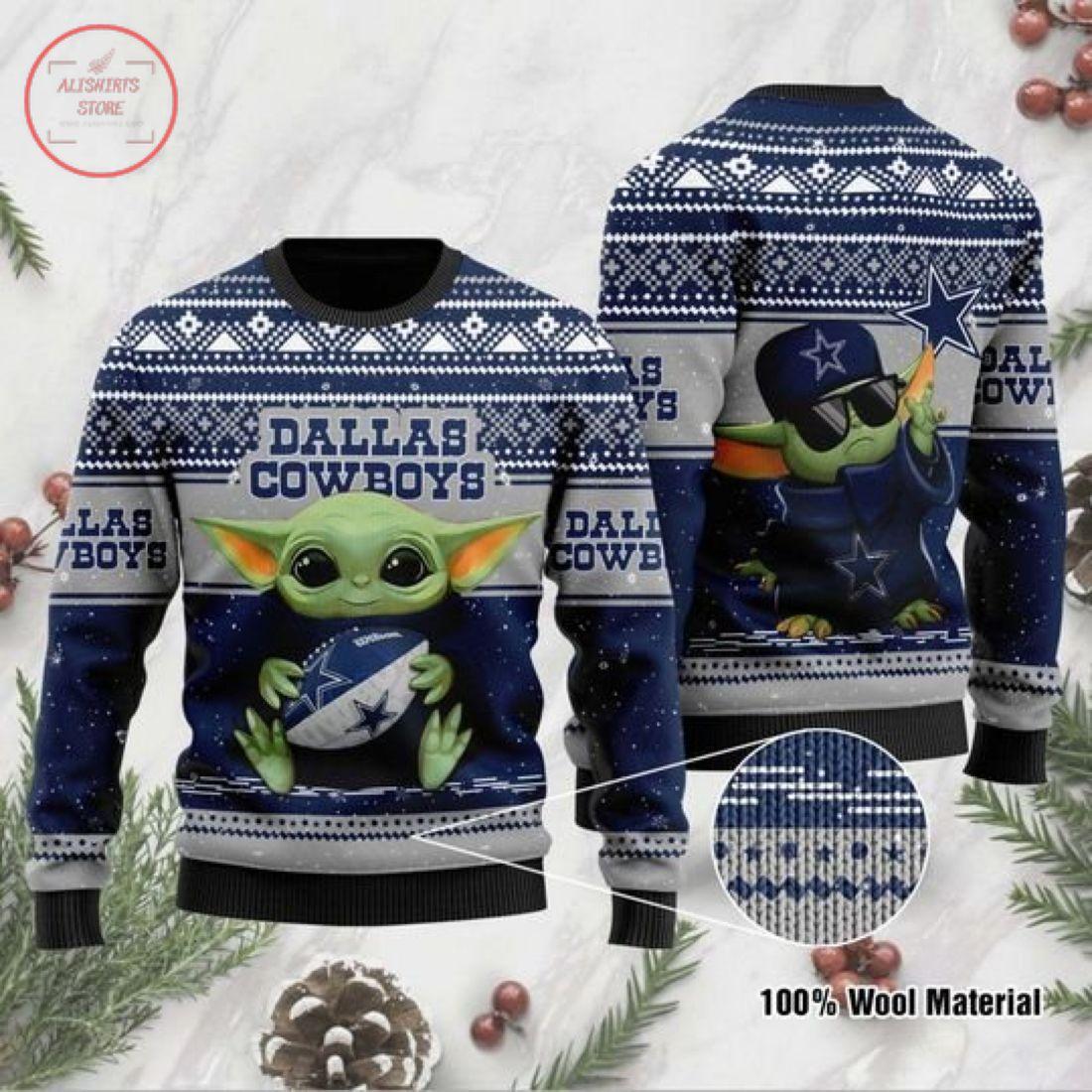 Baby Yoda Dallas Cowboys Ugly Christmas Sweater