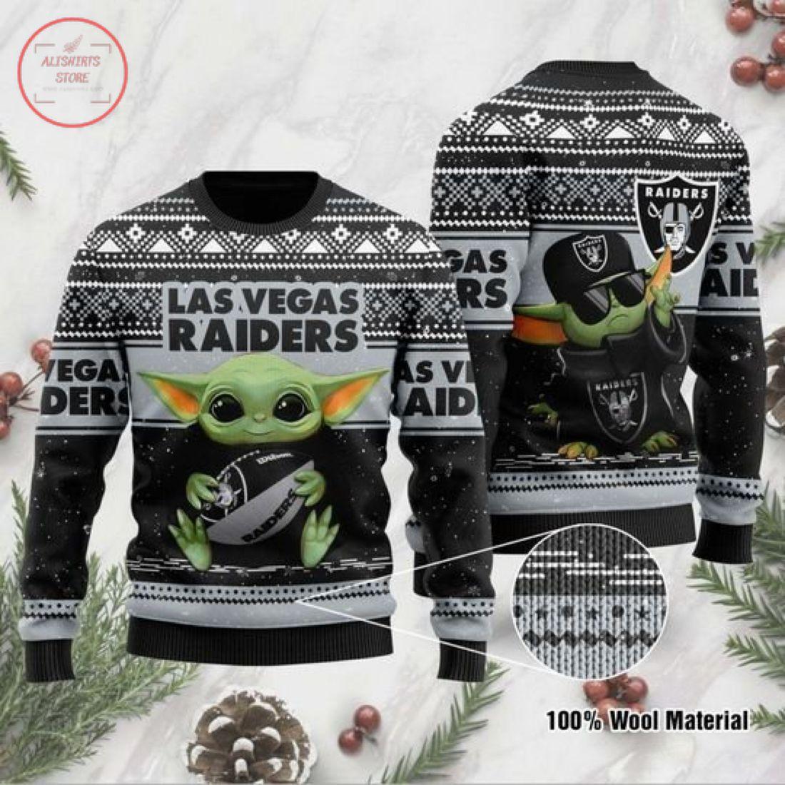 Baby Yoda Las vegas raiders Ugly Christmas Sweater
