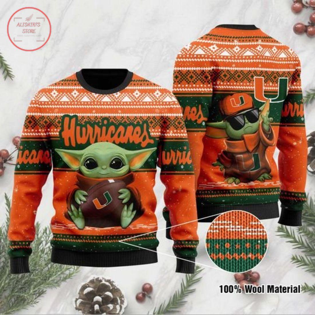 Baby Yoda Miami Hurricanes Ugly Christmas Sweater