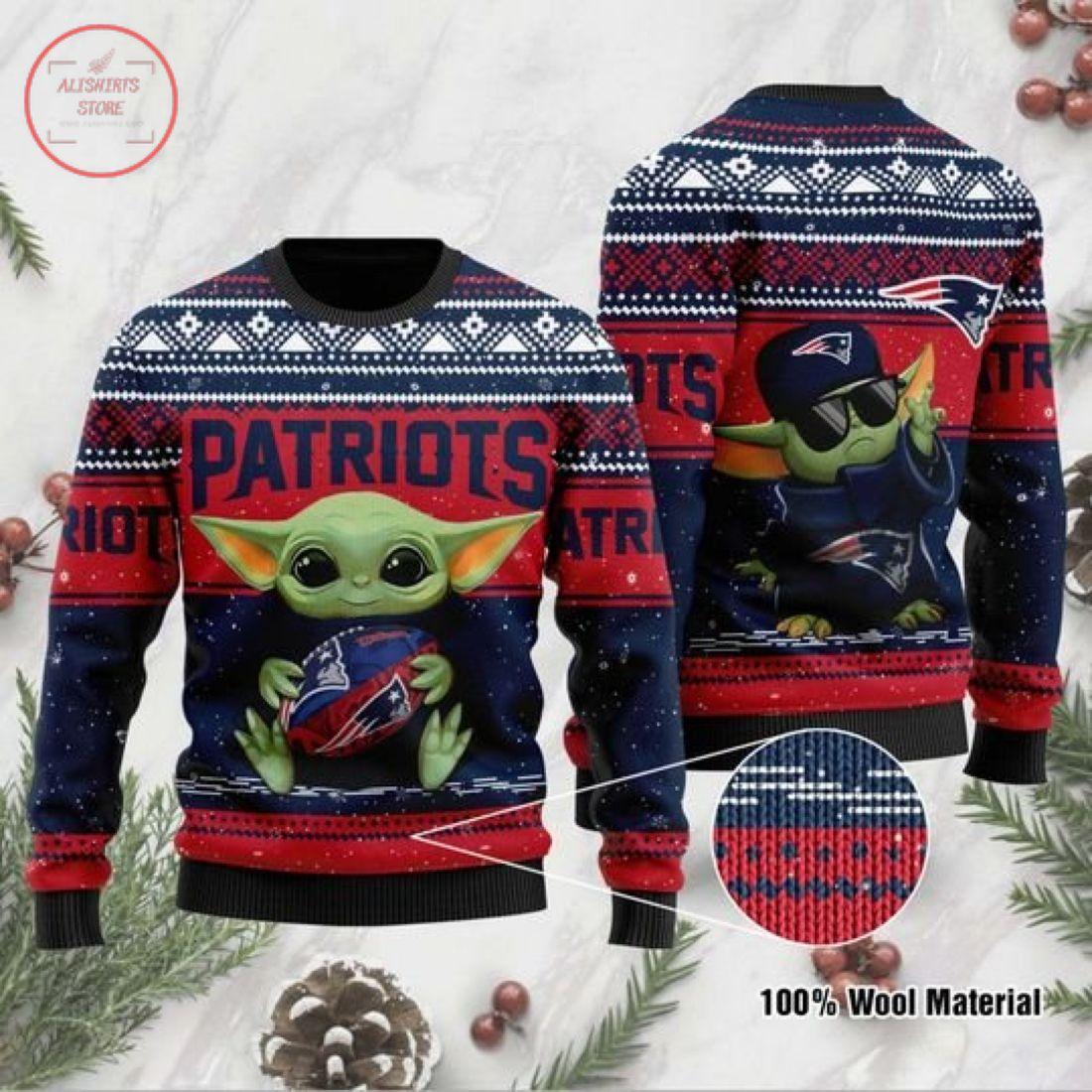 Baby Yoda New England Patriots Ugly Christmas Sweater