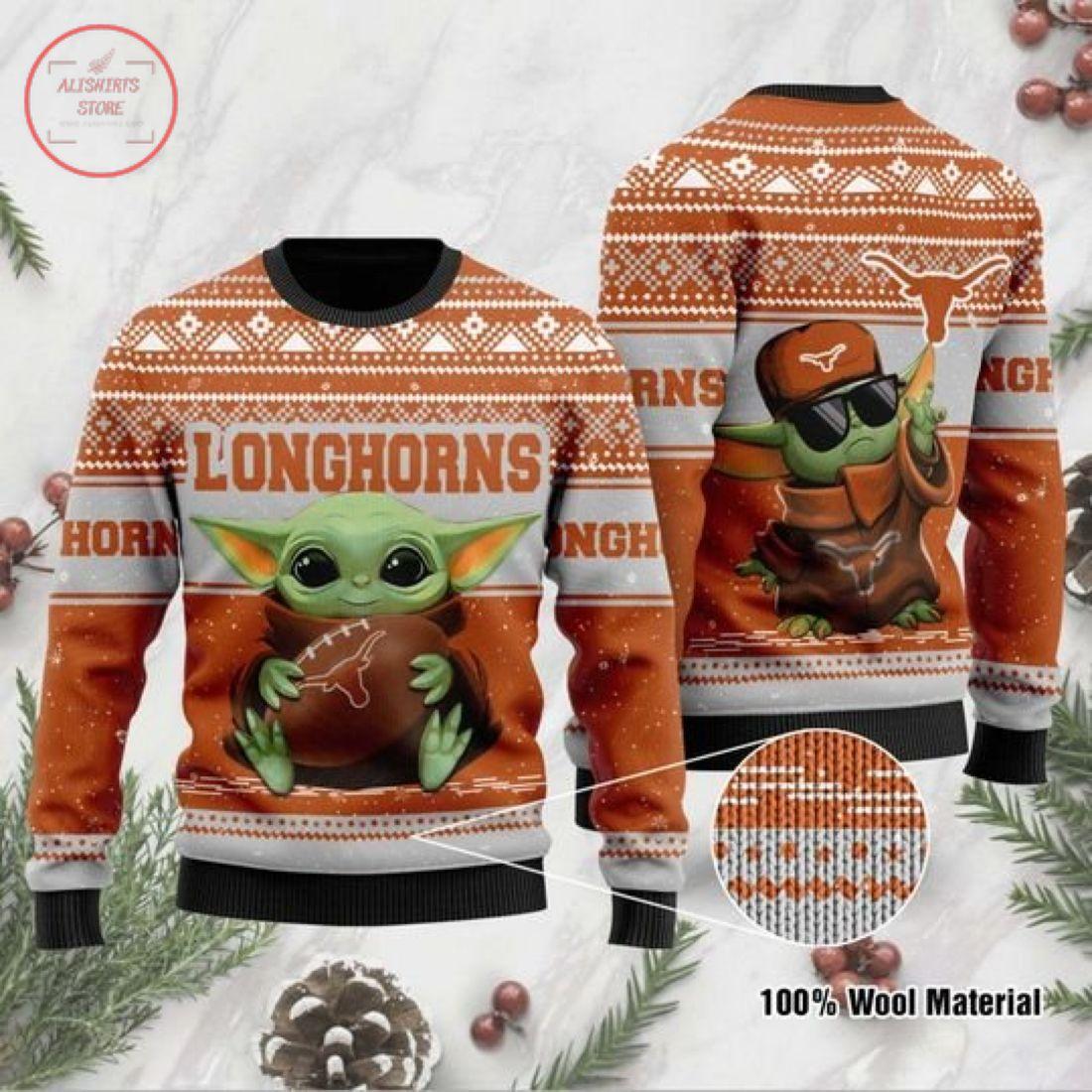 Baby Yoda Texas Longhorns Ugly Christmas Sweater