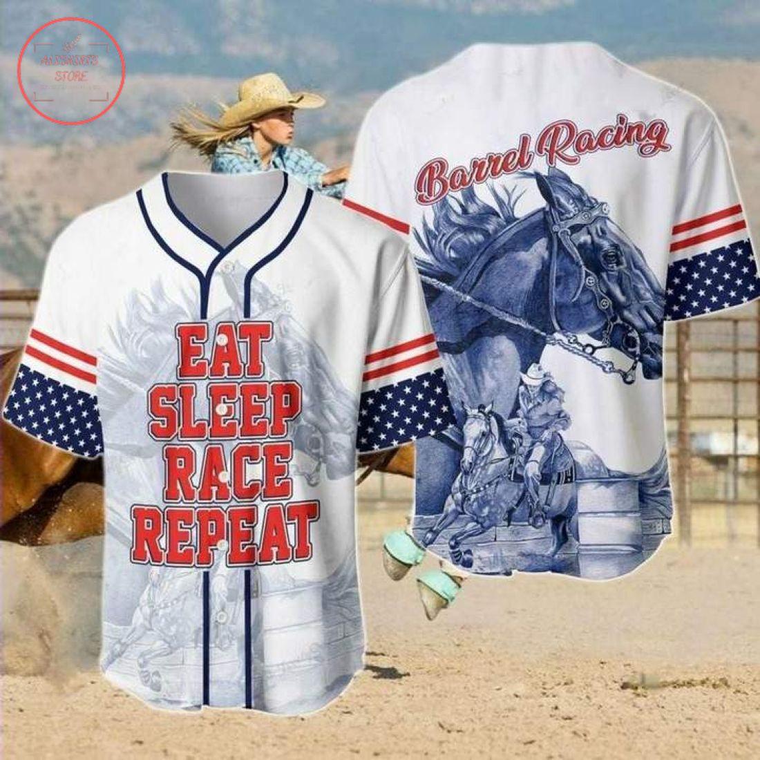 Barrel Racing Eat Sleep Rope Repeat Baseball Jersey