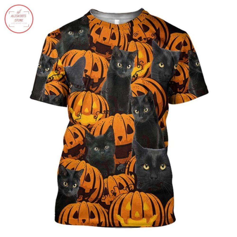 Black Cat And Pumpkin Halloween T-Shirt and Hoodie
