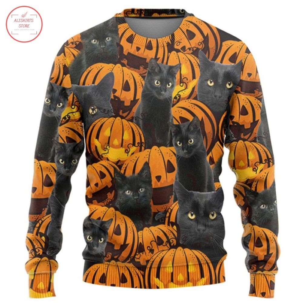 Black Cat And Pumpkin HalloweenT-Shirt and Hoodie