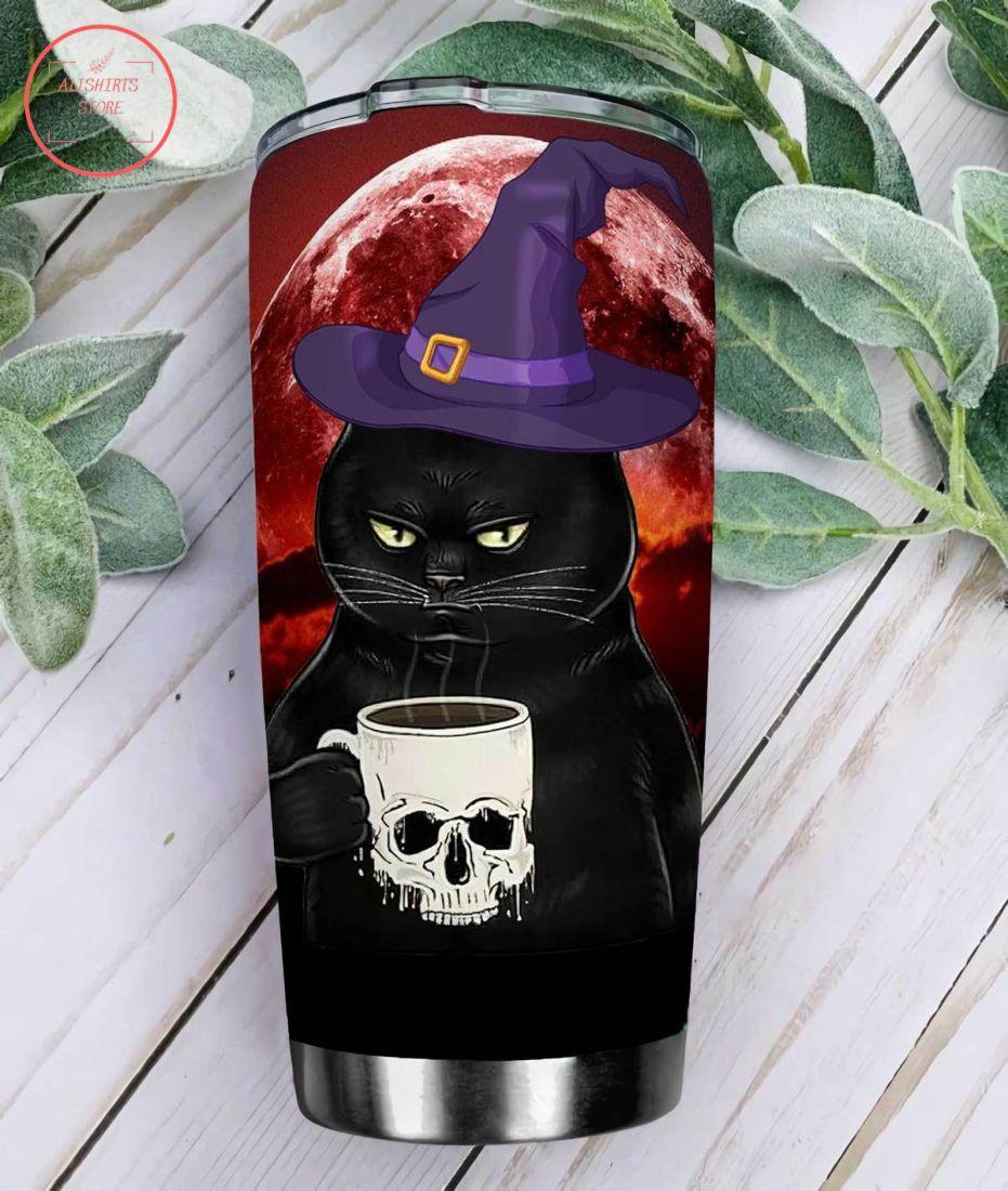 Black Cat Drinks Coffee Halloween Tumbler